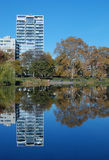 Reflexions in Central Park. Reflexions on Harlem Meer in Central Park, New York City Stock Image