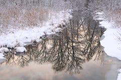 Reflexions-Winter-Nebenfluss Lizenzfreie Stockfotos
