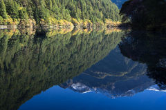 Reflexionsberg på spegelsjön på Jiuzhaigou Arkivbild