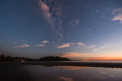 Reflexionsdeppighethimmel med milkyway och solnedgång Arkivfoton