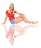 reflexionskvinna Fotografering för Bildbyråer