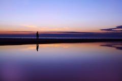 reflexionssilhouettesolnedgång Royaltyfri Bild