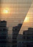 reflexionssolnedgång Arkivbilder