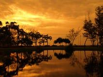 reflexionssolnedgång arkivfoto
