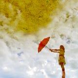 Reflexão da água e mulher vermelha do guarda-chuva Imagem de Stock Royalty Free