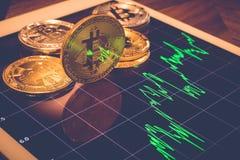 Reflexo da tela da luz da mostra de Bitcoins do gráfico do preço Fotos de Stock Royalty Free