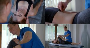 Reflexology and chiropractic, collage of different treatments in clinic of alternative medicine