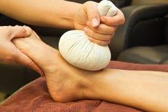 Reflexology foot massage Stock Photos