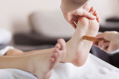 Reflexology foot massage Royalty Free Stock Images