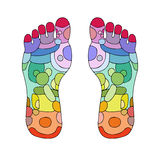 Reflexology foot massage points Stock Photo