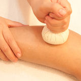 Reflexology leg massage Stock Photos