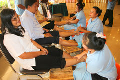 Reflexology massage, spa foot treatment,Thailand. MUANG, MAHASARAKHAM - JULY 13 : Unidentified people are in reflexology spa foot massage on July 13, 2012 at Royalty Free Stock Photo