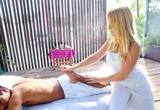 Reflexology massage stretch therapy physiotherapy Stock Images