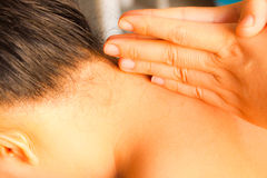 Reflexology neck massage Stock Image