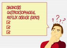 Reflux διαγνώσεων κειμένων γραφής Gastroesophageal ασθένεια Gerd Έννοια που σημαίνει τη χωνευτική αναταραχή διανυσματική απεικόνιση