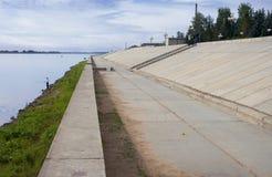 Reforço da terraplenagem de Volga em Balakhna Rússia Fotografia de Stock