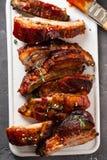 Reforços assados deliciosos temperados com um molho de aspersão picante perca-acima, copie o espaço fotografia de stock