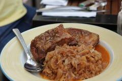 Reforços de carne de porco com repolho Stewed imagens de stock