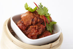 Reforços de carne de porco cozinhados com feijão preto Fotografia de Stock