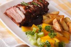 Reforços de carne de porco do BBQ com salada e close-up fritado das batatas horizontal Foto de Stock