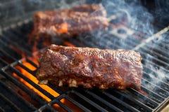 Reforços de carne de porco do BBQ que cozinham na grade do ardor foto de stock