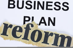 Reform of business plan. Abstract - reform cutout lain on business plan concept Royalty Free Stock Photo