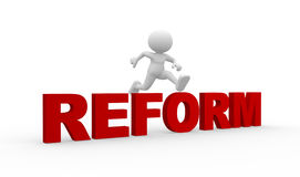 Reform. 3d people - man, person jumap over word Reform Royalty Free Stock Photography