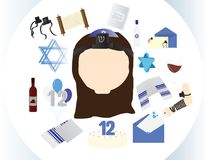 Reform Jewish girl icon with traditional Bat mitzvah elements. In white cilrcle Royalty Free Stock Photos