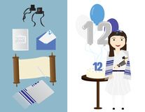 Reform Jewish girl with traditional Bat mitzvah elements. Cake and balloons Royalty Free Stock Images