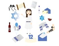 Reform Jewish girl with traditional Bat mitzvah elements. Around her Stock Photography