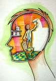 Reform of Mind. Illustration of a boy coloring walls in white  inside humans head. Section sketch Stock Photography
