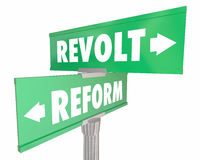 Reform Vs Revolt Revolution Two Road Street Signs. 3d Illustration Stock Image