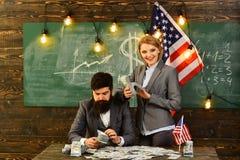 Reforma americana da educação na escola o 4 de julho Dia da Independência de EUA Planeamento da renda da política do aumento de o Fotografia de Stock