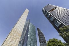 On Reforma avenue, the tallest buildings in Mexico City royalty free stock photos