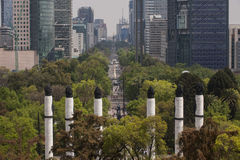 Reforma walk. View of the Reforma walk, In the foreground, the altar to the homeland Royalty Free Stock Photography