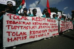 Reformation action. Number of student doing reformation action protest to government in solo, central java, indonesia Royalty Free Stock Images