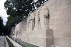 Reformation wall in Geneva. The four reformists commemorated on a wall in Parc Des Bastions in Geneva, Switzerland.  Depicted are William Farel, John Calvin Stock Image
