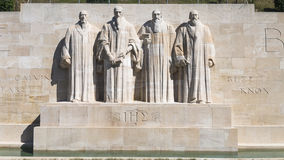 Reformation wall in Geneva. Statues on Reformation wall in Geneva, Switzerland, Europe Royalty Free Stock Photos