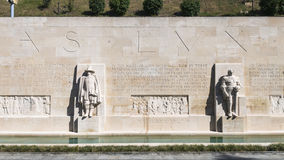 Reformation wall in Geneva. Statues on Reformation wall in Geneva, Switzerland, Europe Stock Images