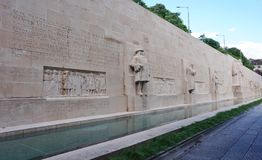 The Reformation Wall in Geneva, Switzerland. GENEVA, SWITZERLAND -5 JUNE 2016- The International Monument to the Reformation in the Parc des Bastions in Geneva Royalty Free Stock Photos