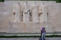 The Reformation Wall in Geneva, Switzerland. GENEVA, SWITZERLAND -5 JUNE 2016- The International Monument to the Reformation in the Parc des Bastions in Geneva Stock Images