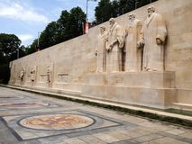 Free Reformation Wall In Parc Des Bastions, Was Built Into Old City Walls. Calvinist Monument Statues Are William Farel, John Calvin Royalty Free Stock Photo - 121215695