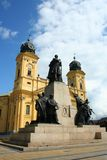 Reformed church. Of Debrecen City with statues royalty free stock photography