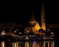 Reformed church in Budapest at night Stock Photo