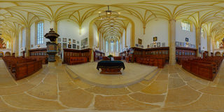 Reformed Church of Farkas/Kogălniceanu Street, Cluj-Napoca, Romania. 360 panorama from the altar of the Reformed Church on Farkas/Kogălniceanu Street, in Cluj Stock Image