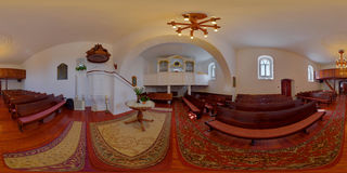 Reformed Church Interior in Sântioana de Mureș, Romania. 360 panorama of the interior of the Reformed Church interior in Csittszentiván (Sântioana de Mure Stock Photos