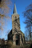 Reformed church in the middle of the small town Berkenwoude in the Krimpenerwaard in the Netherlands.  Royalty Free Stock Photo