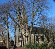Reformed church in the middle of the small town Berkenwoude in the Krimpenerwaard in the Netherlands.  Royalty Free Stock Photography