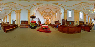 Reformed Fortress Church Altar in Târgu Mureș, Romania. 360 panorama from the altar of the Reformed Fortress Church in Târgu Mureș, Romania Stock Images