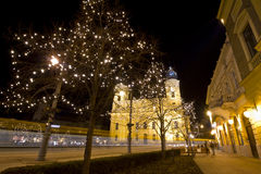 Reformed Great Church of Debrecen at christmastime Stock Photo